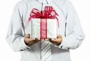 businessman with gift box