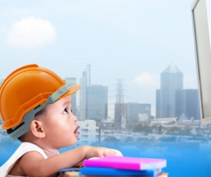 toddler in construction hat